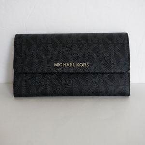 Michael Kors Jet Set Signature Trifold Wallet Blk